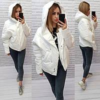 Куртка короткая оверсайз матовая арт. 187 белый жаворонок / белая молочная / белого цвета молоко