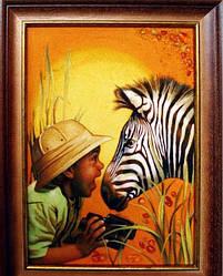 """Картина из янтаря """" Зебра и малыш"""""""