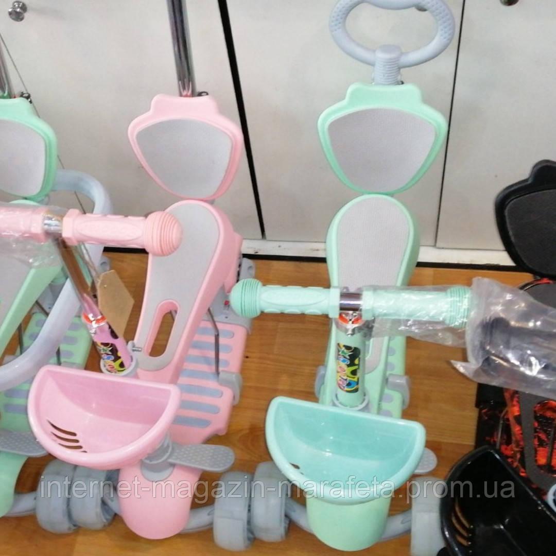 Самокат детский трехколесный от 2 лет/ бирюзовый, розовый/ с родительской ручкой, сиденьем, подножками_HH12M🍭