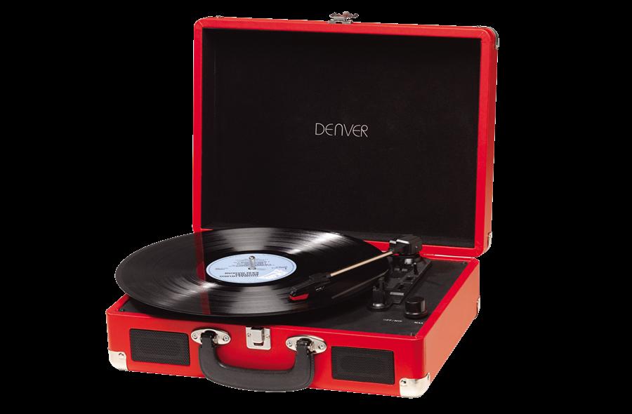 Програвач вінілових дисків Denver VPL-120 RED 3-швидкісний зі стереодинаміками, чемодан / портфель
