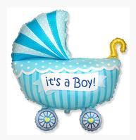 Фольгированный шар фигурный Коляска для мальчика 89х74 см. Flexmetal