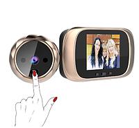 """Видеоглазок - дверной звонок цифровой для квартиры с  2,8 """"LCD цветной экран  и фото записью Gold"""