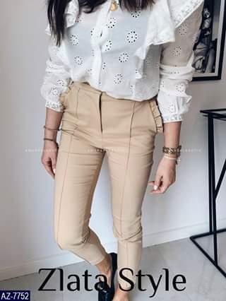 Женские брюки однотонные повседневные.  Размеры: S-M, M-L. Ткань: креп костюмка барби.