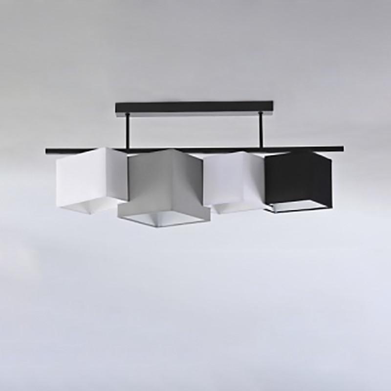 Люстра потолочная на четыре лампы с абажуром NM-H814677/4B BK+MIX E27 TK черная
