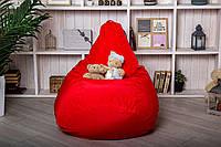 Бескаркасное Кресло мешок груша пуфик XL Красное (120х75)