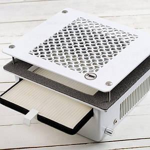 Вбудована манікюрна витяжка TeriTurbo HEPA фільтр врізний пилосос для манікюру(сітка білий пластик)