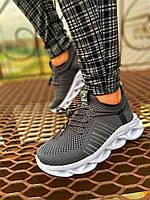 Мужские кроссовки серые сетка MJ 02, фото 1