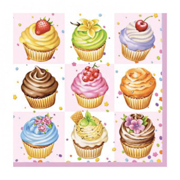 """Декупажні серветки """"Cupcakes"""", 33*33 см, 18,5 г/м2, 20 шт, Ambiente"""