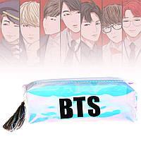 Пенал БТС BTS с чёрной надписью BTS