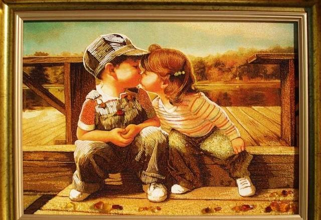 """Картина из янтаря """" Милые дети"""""""