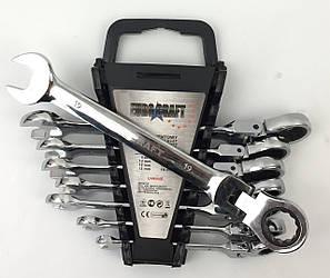 Набор рожково-накидных ключей с трещеткой на кардане 8 шт Euro craft(8-19)
