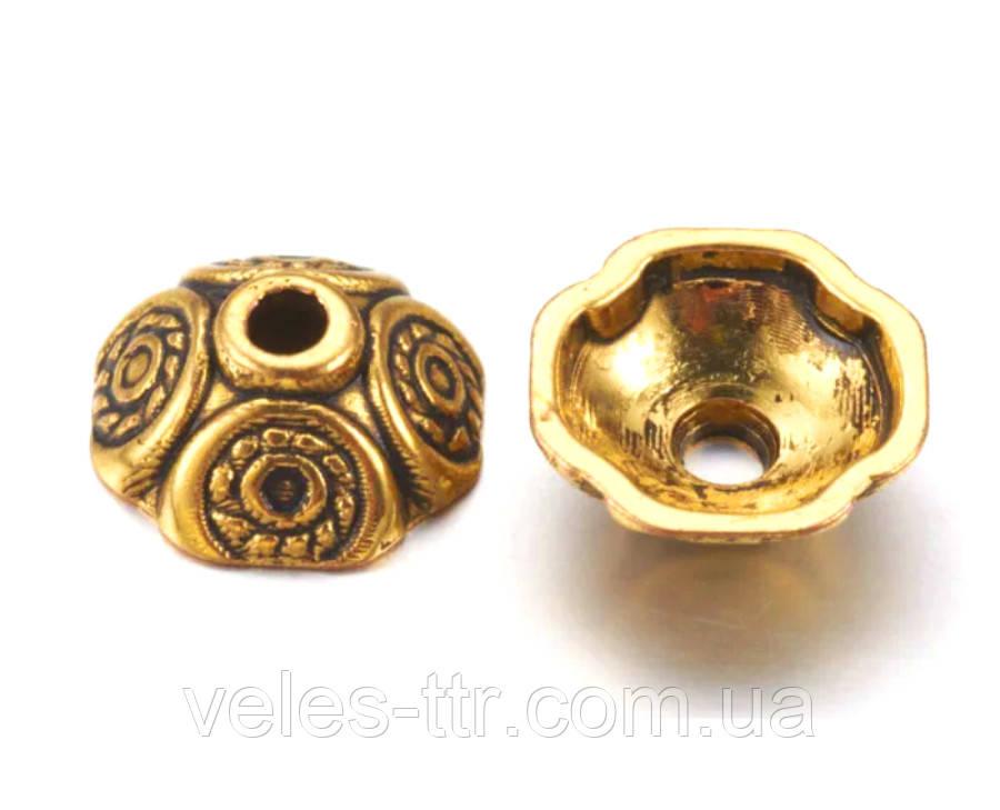 Обниматель - шапочка Квадратный 2 золото античное 9х9х4 мм