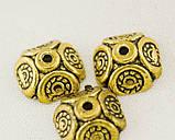 Обниматель - шапочка Квадратный 2 золото античное 9х9х4 мм, фото 2