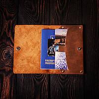 Обложка для паспорта из натуральной кожи Manhattan коричневая