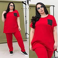 Женский весенний спортивный костюм двойка, удлиненная туника + брюки. Большого размера Р 50, 52, 54, 56-58