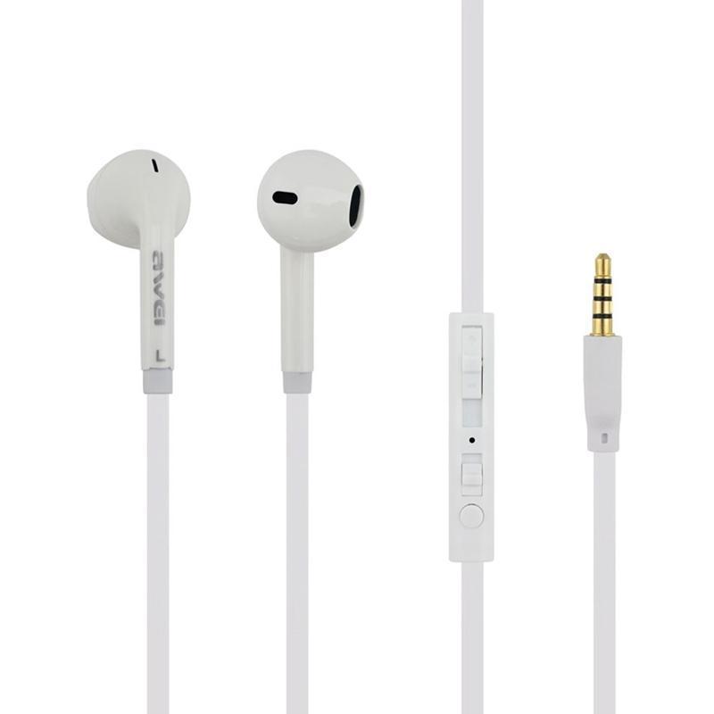 Наушники MP3 AWEI ES-15Hi White + mic + button call answering + volume control