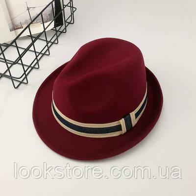 Шляпа унисекс Челентанка Jazz бордовая
