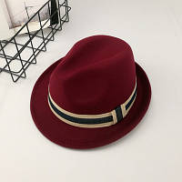 Шляпа унисекс Челентанка Jazz бордовая, фото 1