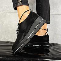Туфли женские из натуральной кожи, матовые, черного цвета (весна/осень)