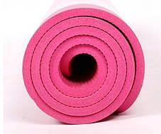 Йогамат для фітнесу/ килимок для йоги (Рожевий), фото 3
