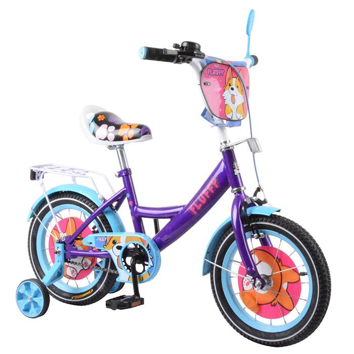 """Детский велосипед 14"""" TILLY Fluffy с доп.колесами"""