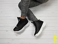 Высокие кроссовки фила черные на белой подошве зима 37 (788)