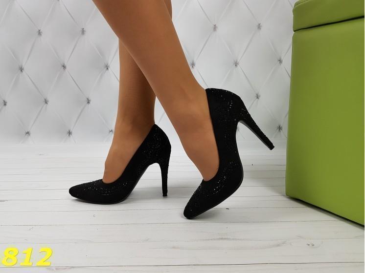 Нарядные туфли лодочки с камушками черные 35, 36 р. (812)