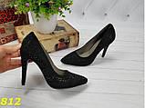 Нарядные туфли лодочки с камушками черные 35, 36 р. (812), фото 5