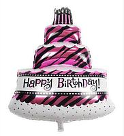 Фольгированный шар фигурный торт малинового цвета 85х60 см.