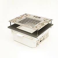 Пылесос маникюрная вытяжка врезная для маникюрного стола с HEPA фильтром (нержавеющая сетка с узором)