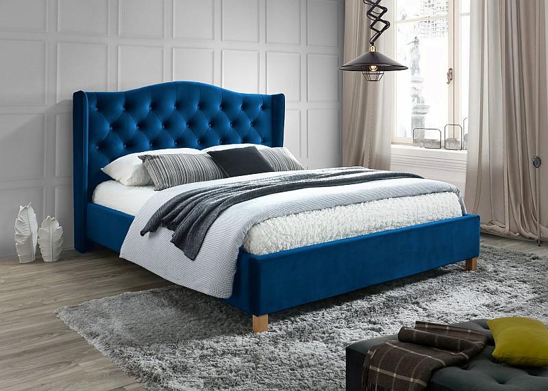 Кровать ASPEN 160 вельвет синий (Signal)