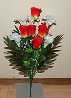 С-400 Роза и лилия 8+6 головок  55х8 см