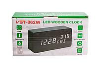 Часы 15х7см. + датчик влажности, коричневые, зеленое свечение, прямоугольные