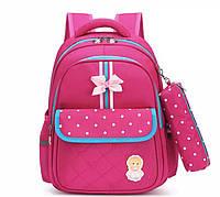 Школьный ортопедический розовый рюкзак с пеналом детский ранец портфель для девочки первоклассницы 7-8 лет