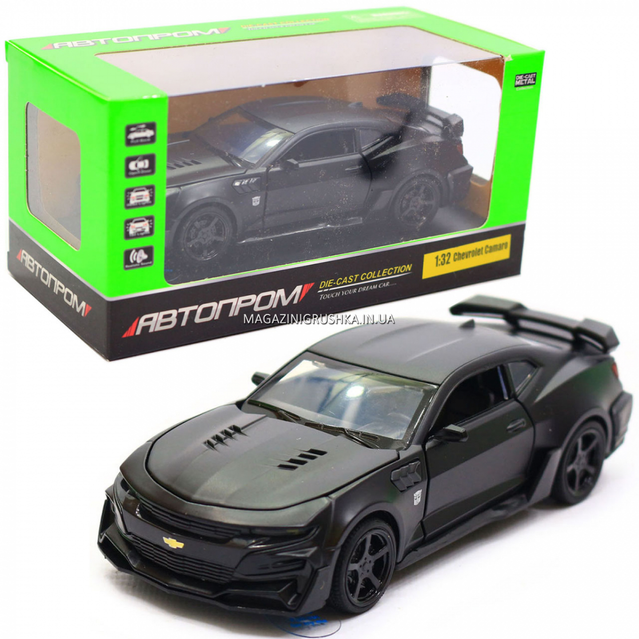 Машинка модель Автопром Chevrolet Самого (Шевроле Камаро) Чорний, 15 см (7863)