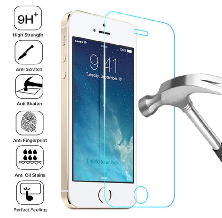 Загартоване захисне скло на Iphone 5SE 100% покриття Прозоре