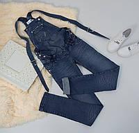 Синий джинсовый комбинезон для беременных 42-48 р