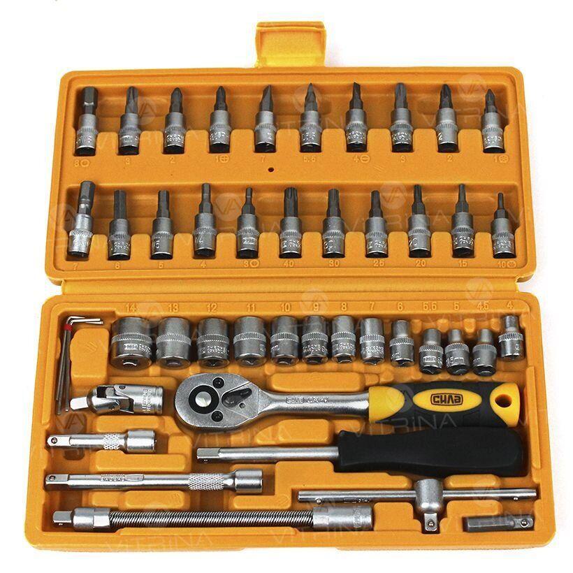 Набор головок 46 шт. 1/4 c трещоткой стандарт СИЛА   251346