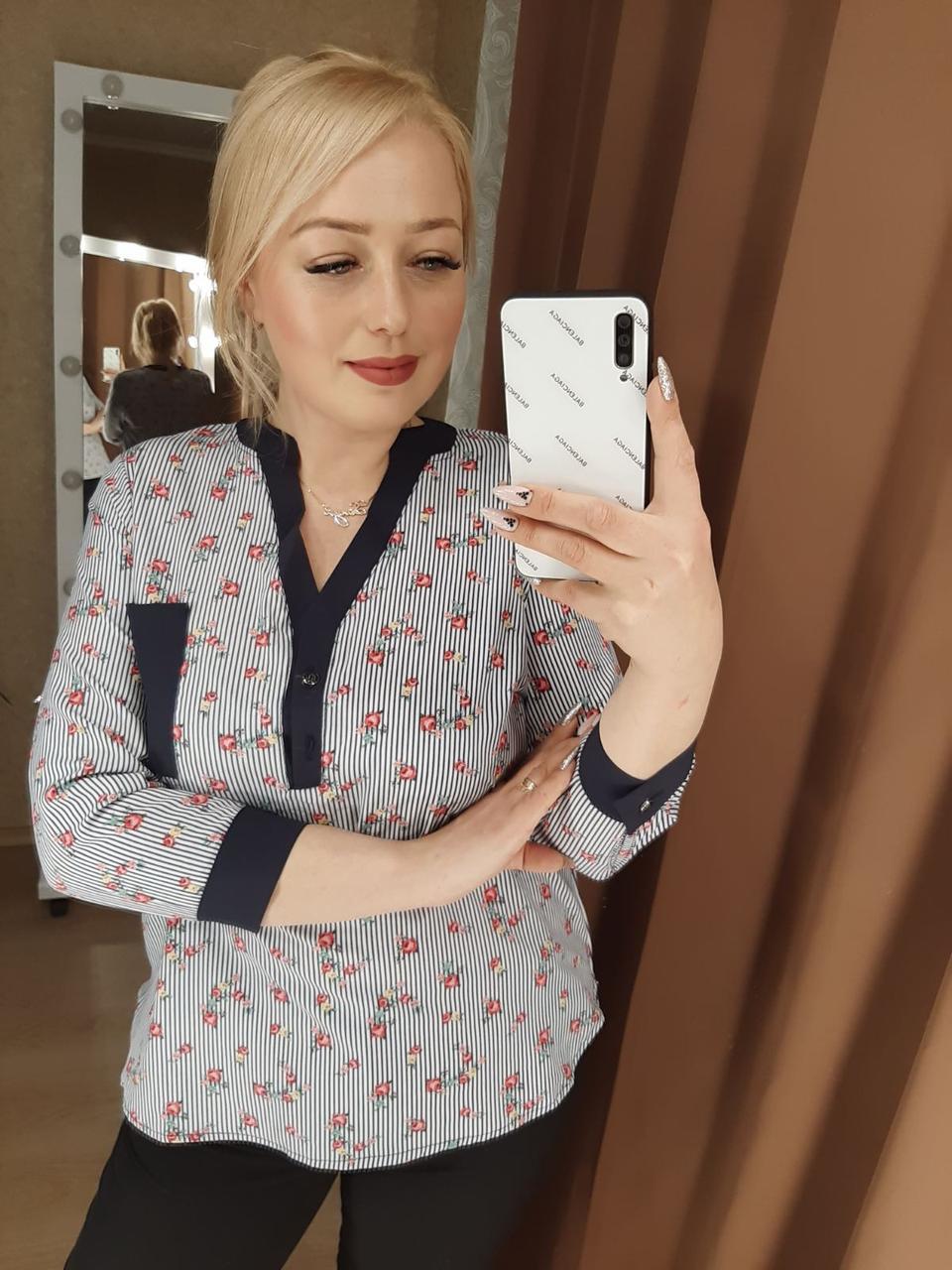 Удобная повседневная рубашка цветочная (42-48)