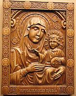 Иерусалимская икона Пресвятой Богородицы резная на дубе