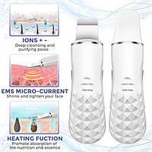 Ультразвуковой Скрабер для кожи лица согревающий Heating Skin Scrubbe White, фото 3