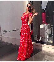 Длинное женское летнее платье в горошек НОВИНКА!!