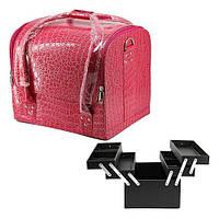 Чемодан мастера кожзам 2700-1 розовый лаковый