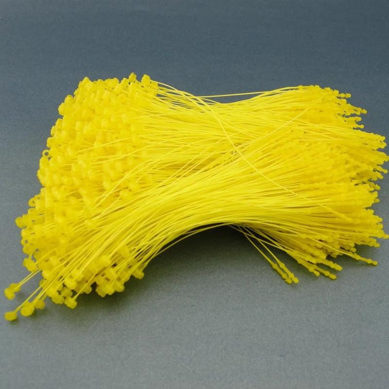 Ярлыкодержатель пластиковий кільцевої для кріплення бірок та ярликів вручну 1000 штук 12 см жовтий