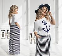 Летний женский костюм Морячка в мелкую полоску (2 цвета) ТК/-2191 - Белый, фото 1