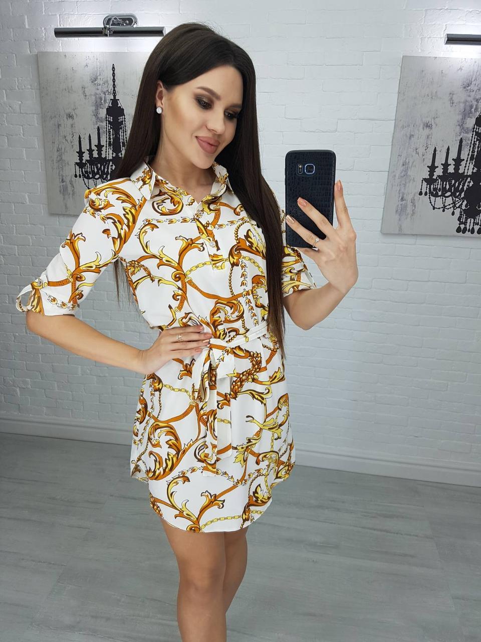Платье-рубашка, с поясом 42,44,46,48 Белый
