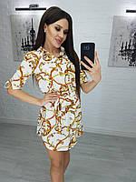 Платье-рубашка, с поясом 42,44,46,48 Белый, фото 1
