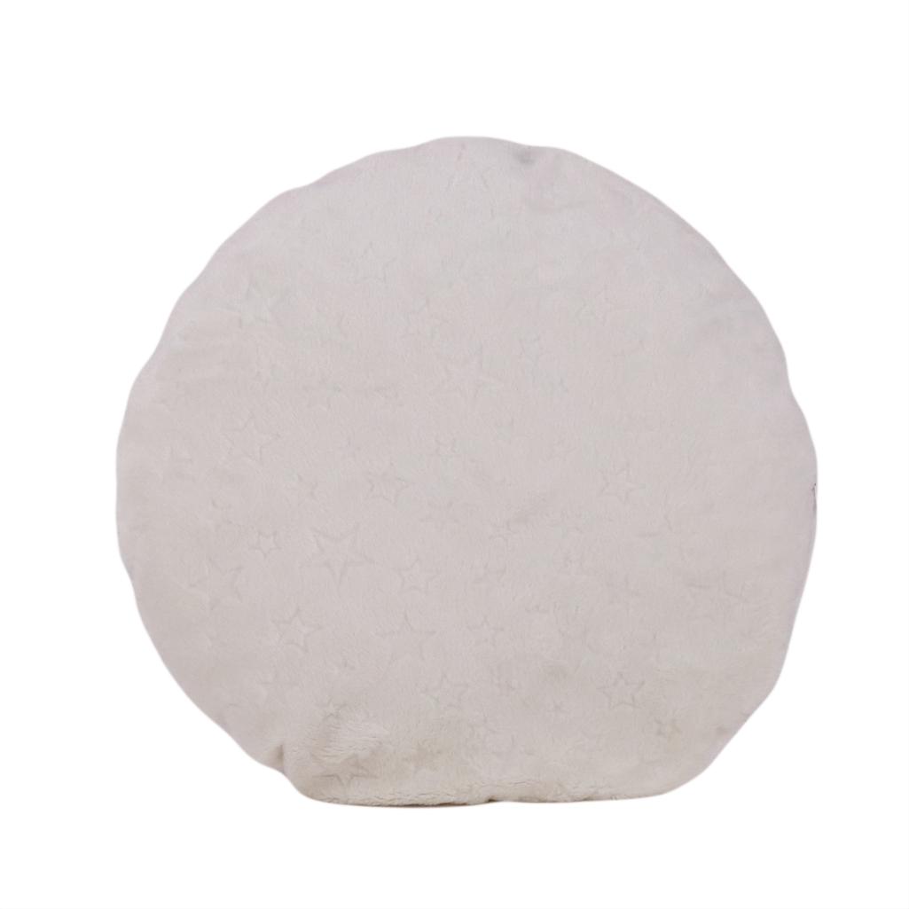 Подушка, Ø35 см, кругла (плюш), (Stars молочно-білий)
