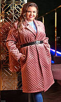 Пальто женское молодежное большого размера 856668 розовый