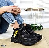 Черные, бежевые, белые! Стильные высокие кроссовки женские, фото 3